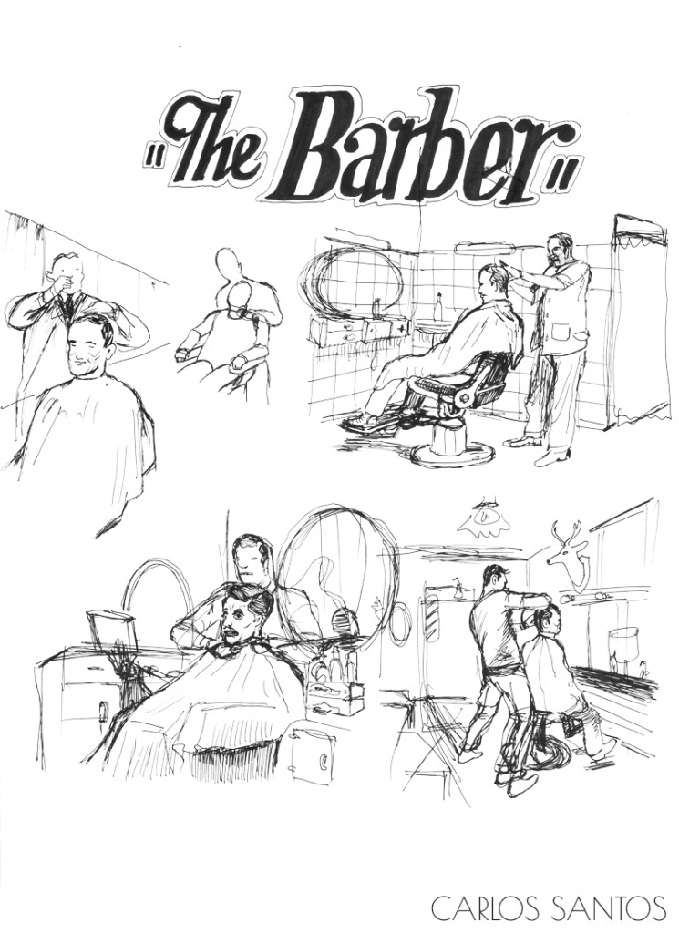 Carlos Santos. ''The Barber'' Ink on Paper, 8.5''x11''. 2012