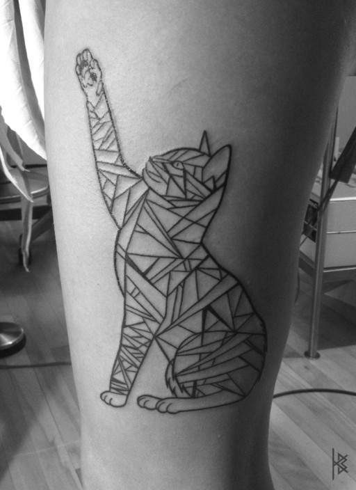 Geometric Cat Tatoo