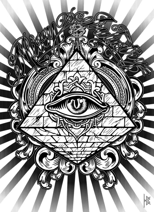 KB. ''All Seeing Eye'' Ink on Paper, 8.5''x11''. 2011