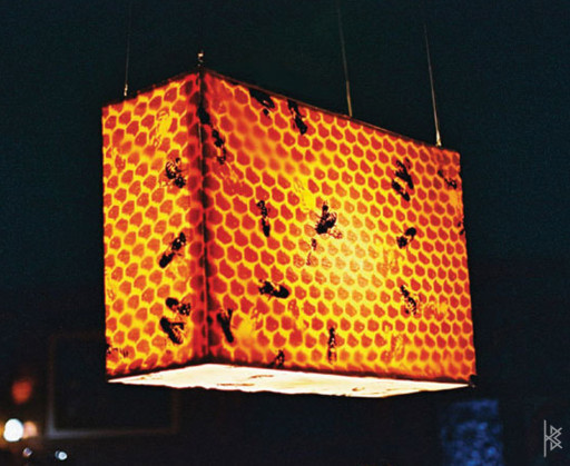 KB. ''Hive'', Hand dyed and Silkscreened Fabric on metal Lamp. 4'x3'x2'. 2004