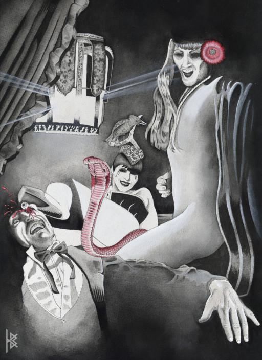 KB. ''Parnell Dies'' Watercolor on Board, 13''x8.5''. 2006