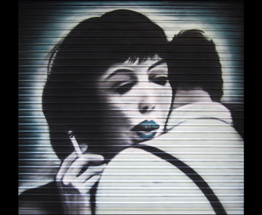KB. ''Vivre Sa Vie'' Spray Paint on Shutter, 10'x10'. 2010