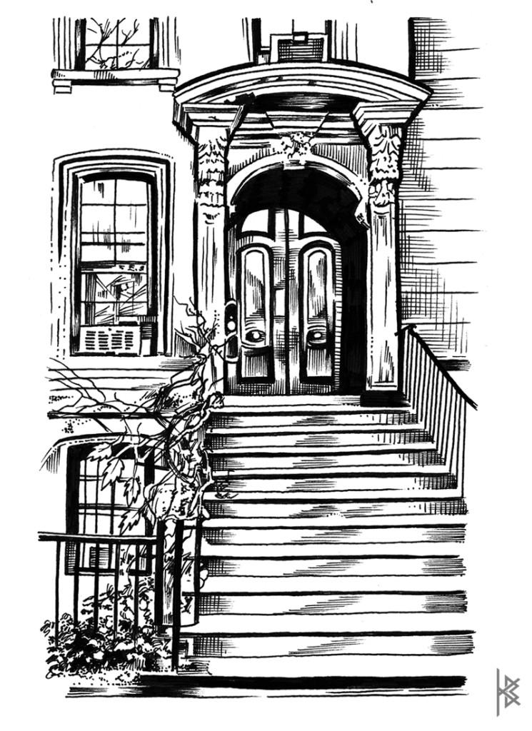 KB. ''NYC Brownstone'' Ink on Paper, 11''x 8.5''. 2015