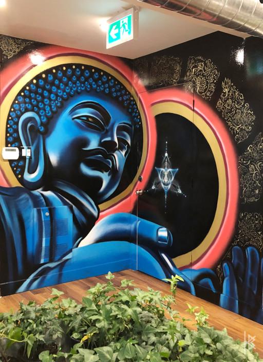 """Buddha and the Cosmic Star"" Acrylic on Wall, 11'x8'. 2019"